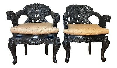 Antique Carved Dragon Chairs - A Pair