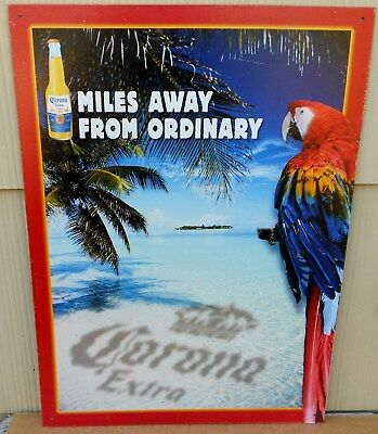 Corona Extra Beer Cerveza Miles From Ordinary Parrot Metal Advertising Sign