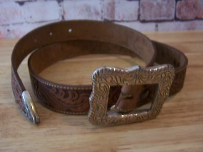 Vintage Justin Leather Belt 33 inch Silver Buckle Ladies Western