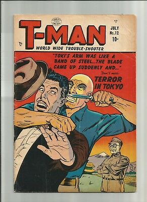 T-Man #12 1953 4.0 Crandall Quality Golden Age Comic Book *Combine Ship*