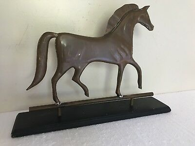 Old Estate Antique Copper Horse Weathervane  Great Piece of Folk Art with Stand