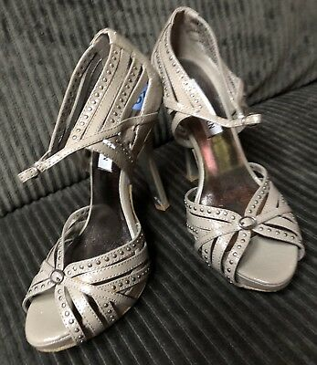 """a08ace54326 Steve Madden Taupe """"Bambi"""" Women s Sandal Heels with stud details Size 6.5"""