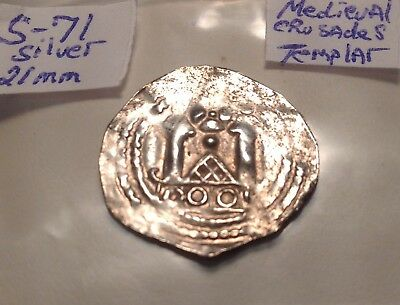 Medieval Silver Coin 21mm Crusader 12th Century Sharp!