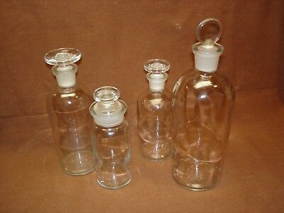 Lot of 4 Vintage Wheaton Glass Chemical Lab Apothecary Bottles w/ Stoppers