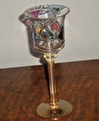 """Partylite Mosaic Stained Glass Votive Tealight Stemmed 7"""" Candle Holder"""