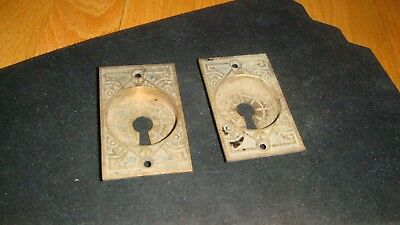 "2 Antique Brass/Bronze  Key Hole Escutcheons Ornate Details 3"" x 1 7/8""x1/2"""