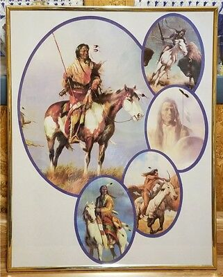 NEW! Native American Indian 5 Scene Collage Print-Framed-Glass 16x20