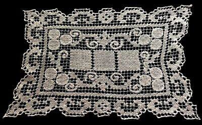 "Antique Edwardian Hand Made Needlework on Knotted Net Lace Doily 12"" x 8 1/2"""