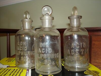 Lot of 3 Millville Glass Chemical Apothecary Reagent Acid Bottles  w/ tops