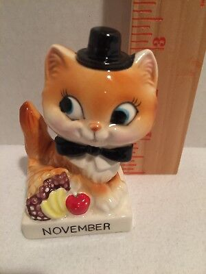 "Vintage Cat in top hat birth month figurine ""November"" A-575"