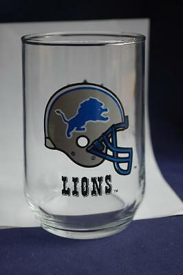 The DETROIT LIONS AND NFL Drink GLASS Football Helmet Logo Sports