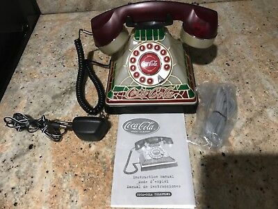 Vtg Coca Cola Stained Glass look, lights up , push buttons