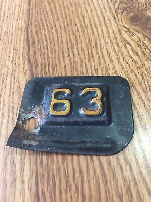 1963 New York License Plate Year Registration - Tag / Tab