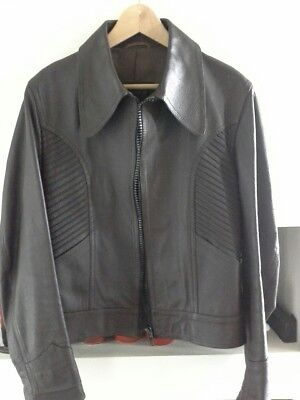 Mens Hipster Retro Chocolate Brown Genuine Leather Jacket Size 38 By Irmos