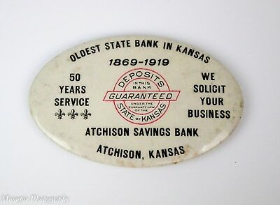 Antique Celluloid Atchison Savings Bank Advertising Mirror Oldest State Bank