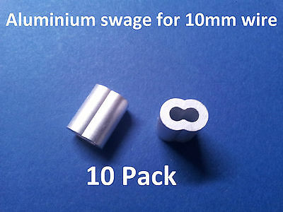 10 X M10 ALUMINIUM SWAGE FERRULE for 10mm STAINLESS WIRE CABLE ROPE CRIMP