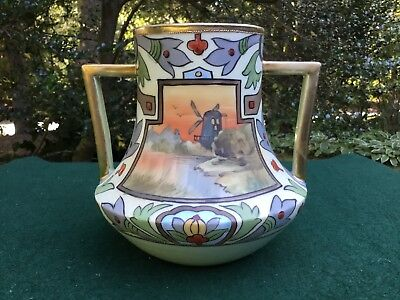 Large Antique Nippon Vase Circa 1910 Hand Painted