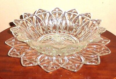 """OLD Vintage_Antique_Set of Clear Glass Wavy Edge 9.4"""" Plate & 8.1"""" Bowl_Fruit"""