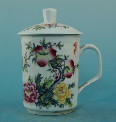 Chinese old porcelain famille rose peach patterns teacup /Guangxu mark 45 b02