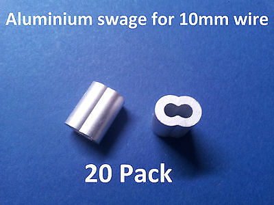 20 X M10 ALUMINIUM SWAGE FERRULE for 10mm STAINLESS WIRE CABLE ROPE SWAGING TOOL
