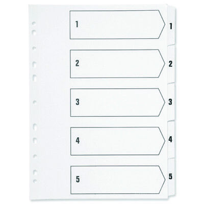 A4 1-5 Numbered Part Index Mylar Dividers - Ring Binder File Card - Subject