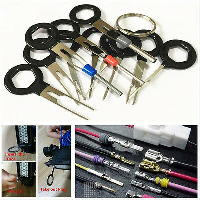11PC Terminal Removal Car key Tool Wiring connector Pin Release Extractor Pulle