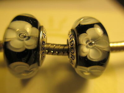 2 Pandora Silver 925 Ale Black White Flowers Rose Cherry Glass Beads Charms New