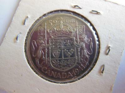 1941 Canada 80 Percent Silver 50 Cent Coin, Nice Condition