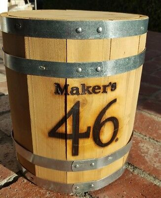 Makers Mark 46 cutaway whiskey barrel display stand sign