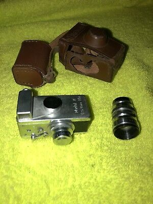 Vintage Steky Mini Spy Camera Model Iii, 16Mm, With Lense And Case Nice!!!