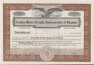 Vintage Stock Certificate Form Anchor Motor Freight Incorporated of Virginia #24