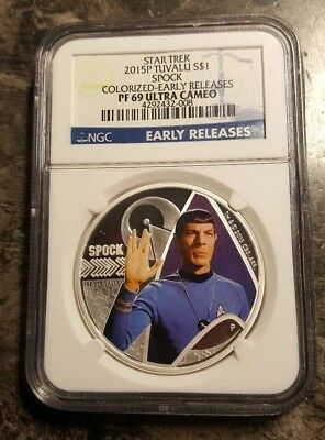 2015 P Star Trek Tuvalu Silver Spock, Colorized Early Releases, NGC PF69 UCAM