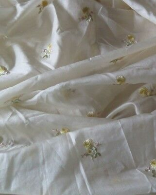 "Rare French/Swiss Hand Embroidered Rose Silk Fabric Yardage~3yds20""X W-23""~Dolls"