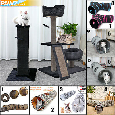 113CM Cat Scratching Post Tree Pole Gym Activity Furniture Toy FREE Cat Tunnel