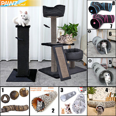 82cm/102cm Cat Scratching Post Tree Pole Gym Activity Furniture Toy Cat Tunnel
