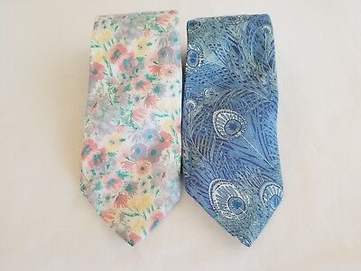 Vintage Liberty of London Neckties Cotton Lot of 2 Pastel Floral & Blue Peacock