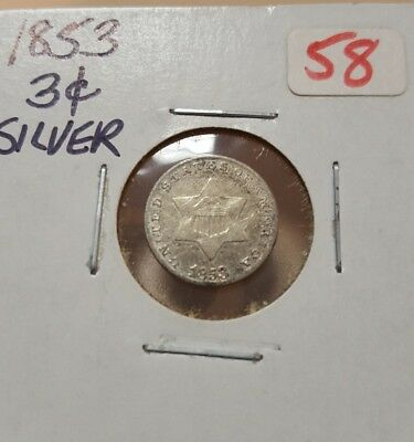 1853 Three Cent Silver Very Fine Trime Coin Circulated VF 3C III US Type 1