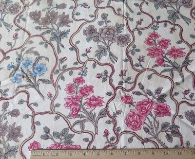 "French Antique c1810 Hand Blocked Botanical Floral Indienne Fabric~L-35"" X W-29"""