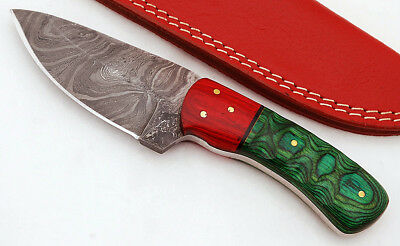 Custom  Twist Damascus Steel Drop Point  Knife F105 micarta Handle