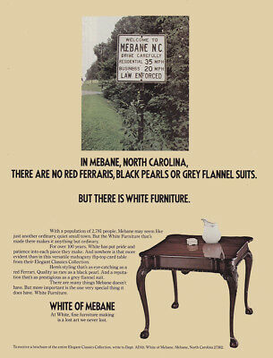 1982 White of Mebane: North Carolina There Are No Red Ferraris Vintage Print Ad