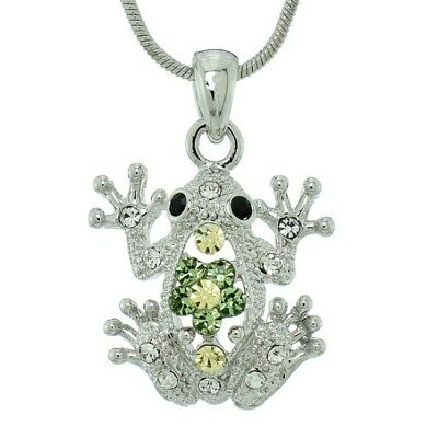 "Frog Yellow Green Pendant Made With Swarovski Crystal Toad 18"" Chain Necklace"