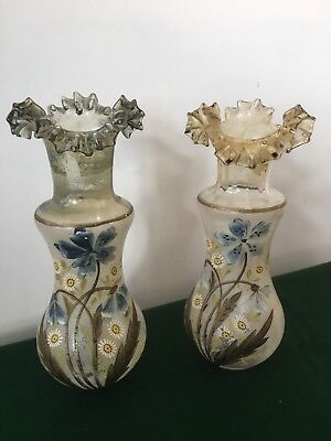 Pair Of Victorian Glass Vases Handpainted Frosted Glass Ruffled Scalloped Top