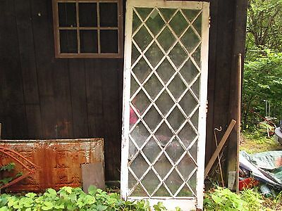 Antique Diamond Pattern Criss Cross Wood And Glass Door Window Salvage  77 X 30
