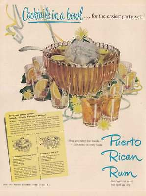 1949 Puerto Rico Rum: Cocktails in a Bowl Vintage Print Ad