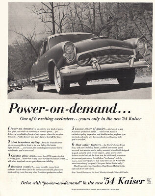 1954 Kaiser: Power On Demand Vintage Print Ad