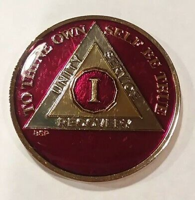 1 Year AA Sobriety Coin Medallion- Red Gold Enamel One 1st Recovery BPS Chip