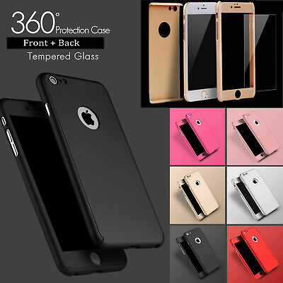 New Apple iPhone 5, 6, 7, 8, X 360 Degree Hybrid Case Cover With Tampered Glass