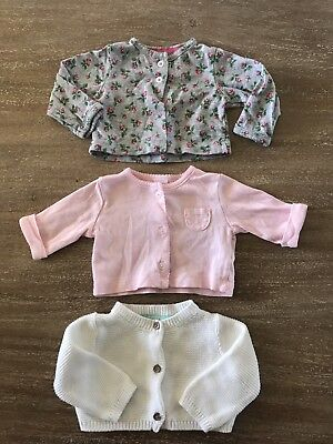 Lot of 3 Carters Infant Baby Girl's Knit Cardigan Sweater White Pink 3 months