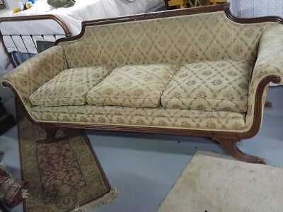 Vintage Duncan Phyfe Style Carved Wood Sofa - No Reserve