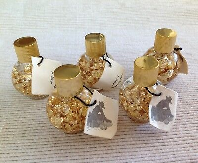 Lot of 5 - 24K Gold Flakes in Liquid and Sealed Small Containers